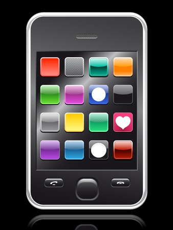 smartphone apps: smartphone with colorful app collection on black background   Illustration
