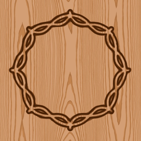 wreath with thorns brand wood pattern background Vector