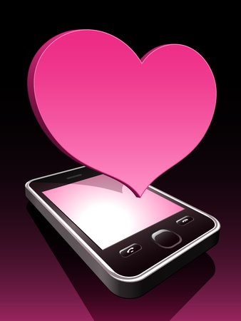 3d smartphone with ping heart hovering  Stock Vector - 11077528