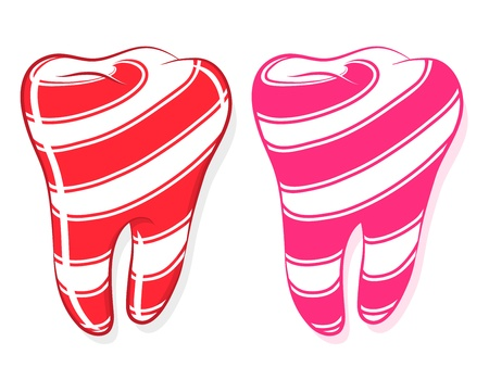 sweet tooth: Candy Striped Teeth depicting the idiom to have a sweet tooth, cartoon on white