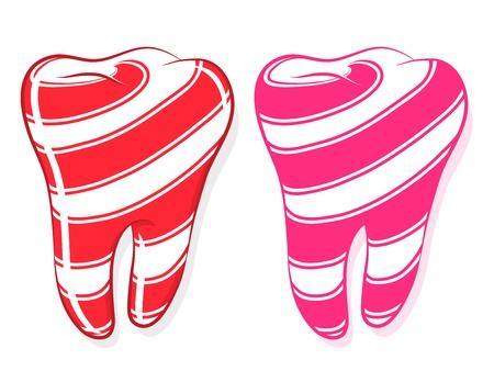 diente caricatura: Dulces rayas dientes que representa la expresi�n de un gusto por lo dulce, de dibujos animados en blanco