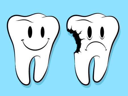 diente caries: Las caras de la diversi�n en los dientes sanos y cariados, personajes de dibujos animados aislado en azul Vectores