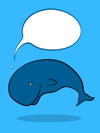 Friendly Whale swimming underwater with blank Speech Bubble, cartoon illustration Vector