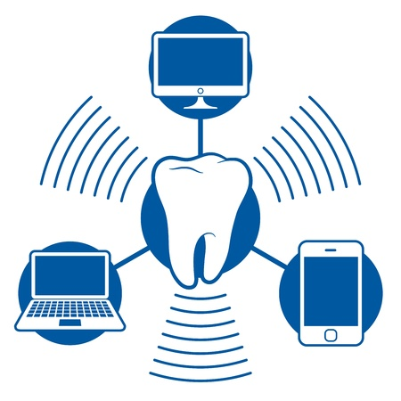wireless connection: bluetooth icon communication set with computer notebook and phone Illustration