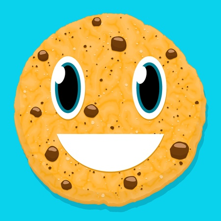 cute chocolate cookie character with smiley face