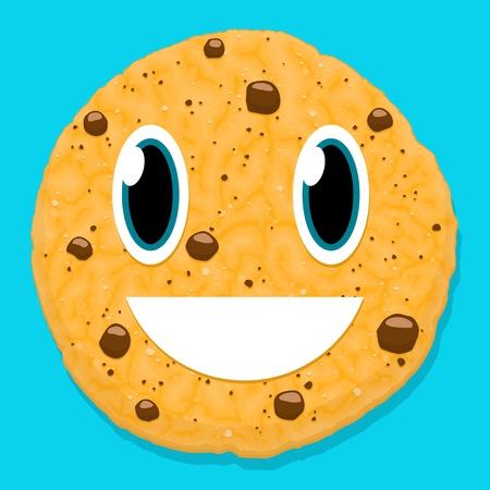 galleta de chocolate: el chocolate lindo del car�cter galleta con cara sonriente