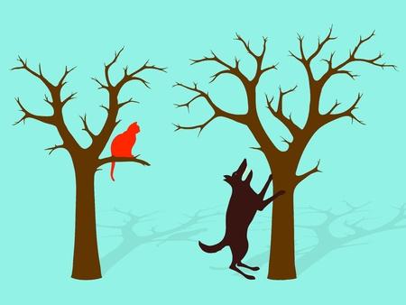 kale: Barking op het verkeerde spoor, een hond staande op zijn achterpoten te blaffen op het verkeerde spoor, terwijl de kat schuilplaatsen in een andere Stock Illustratie