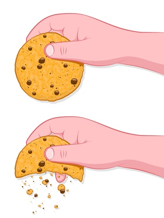 chocolate chip: Thats The Way The Cookie Crumbles, human hand crumbling cookie on white Illustration