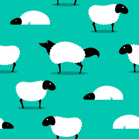 clothes cartoon: Wolf In Sheeps Clothing seamless Background, wolf dressed in sheep fleece hiding out in the flock