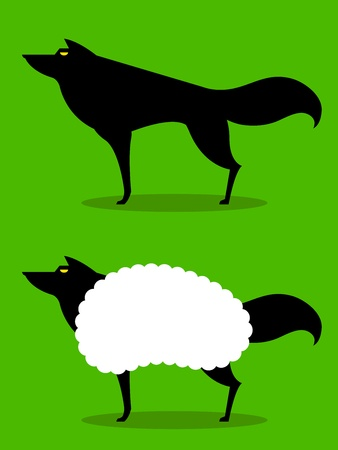 sheep skin: Wolf In Sheeps Clothing, cartoon depiction of this idiom with wolf in silhouette