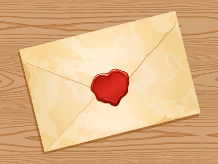 grunge envelope with red heart wax seal wood background Vector