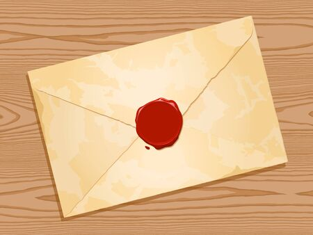 grunge envelope with wax seal on wood background Vector