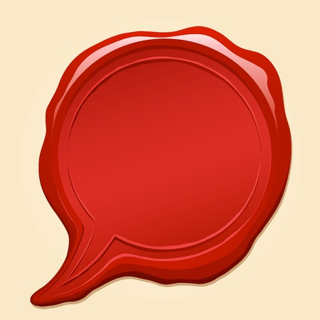 Red wax seal illustration in a shape of comic speech bubble and copyspace Vector