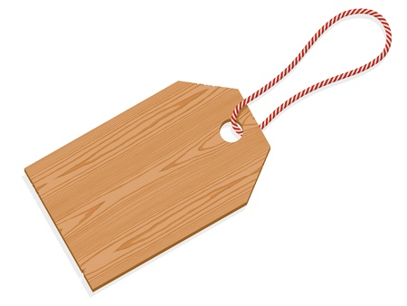 Illustration of a wooden tag label with string isolated on white background Vector