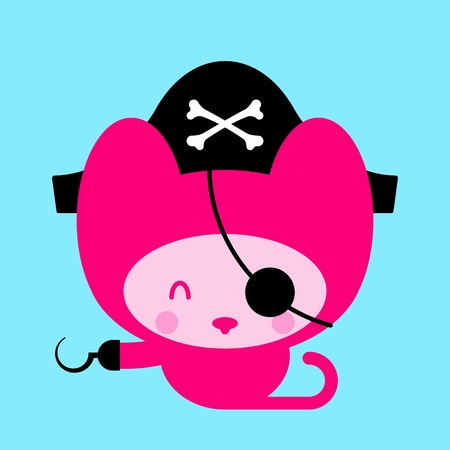 Cartoon character drawing of a cute pink kitten cat pirate with hook and eye patch