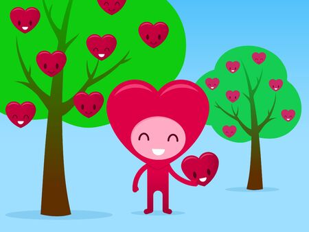 A smiling friendly heart cartoon character picking fruit in an orchard, illustration. illustration