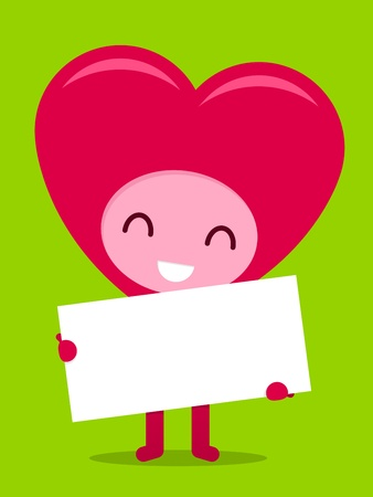 holyday: Smiling happy pink heart character holding blank board with copyspace Stock Photo