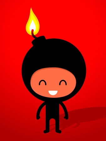 An ironic humorous drawing of a friendly smiling black bomb with burning fuse, cartoon drawing. photo