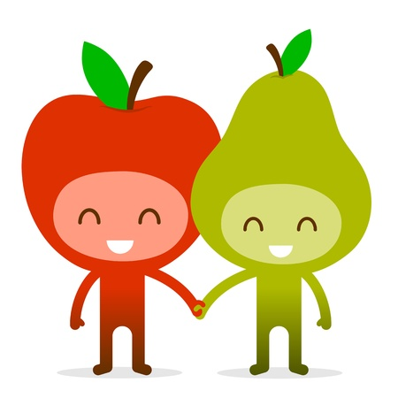 A pair of friendly fruit, an apple and pear, standing holding hands, illustration cartoon characters. illustration