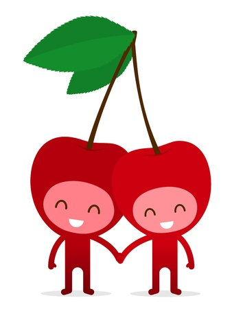 A pair of friendly fruit, cherry, holding hands on white, illustration cartoon characters. illustration