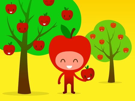 A smiling friendly cartoon character apple picking fruit in an apple orchard, illustration.
