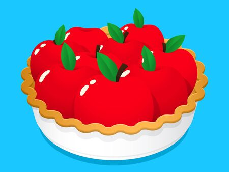 Cartoon illustration of luscious whole red apples with leaves in a baked pie crust and dish.