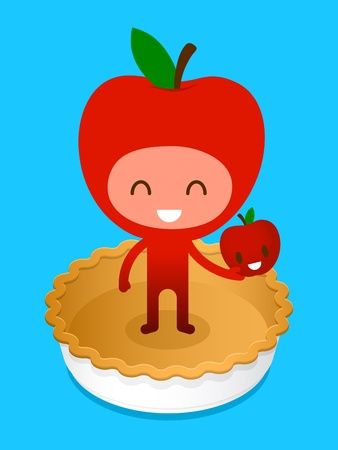 A friendly cartoon character, standing on a baked pie crust holding a smiling apple, illustration cartoon characters. illustration