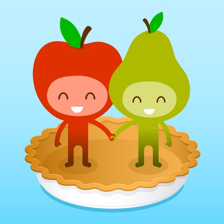 A pair of friendly fruit, an apple and pear, standing on a baked pie crust holding hands, illustration cartoon characters. illustration