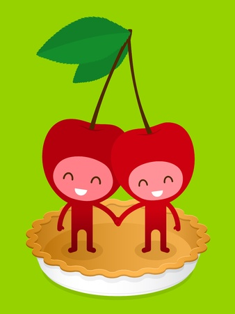A pair of friendly fruit, cherry, standing on a baked pie crust holding hands, illustration cartoon characters. illustration