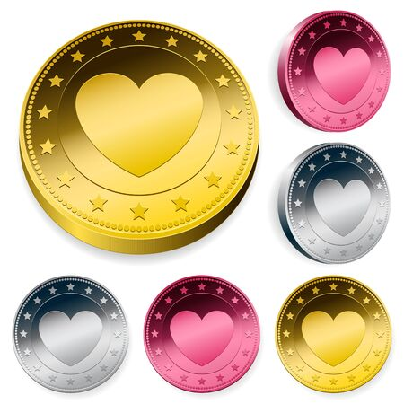 silver coins: A set of three round love coins or tokens with a central heart in gold, silver and bronze in two orientations Stock Photo
