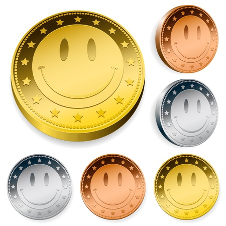 Coin Or Token Set With Smiley FaceA set of three round coins or tokens with a central smiley face in gold, silver and bronze in two orientations Stockfoto