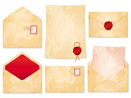 old envelope: A set of aged blank vintage stationery with envelopes, postal cancellations, notepaper and wax seals