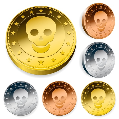 tokens: A set of three round coins or tokens with a central skull in gold, silver and bronze in two orientations Stock Photo