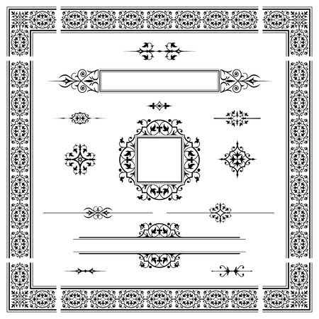 caligraphic: Set of calligraphic design elements