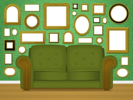 upholstered: Retro living room interior with picture frames Illustration