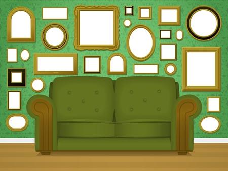 furnishing: Retro woonkamer interieur met fotolijstjes