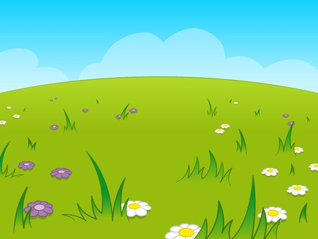 wildflowers: Beautiful green cartoon meadow against blue sky
