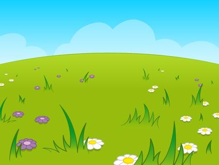 fleurs des champs: Belle prairie verte de bande dessin�e sur fond de ciel bleu Illustration