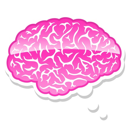 Pink brain in a thought bubble signifying, intelligence, creativity, imagination and intellect photo