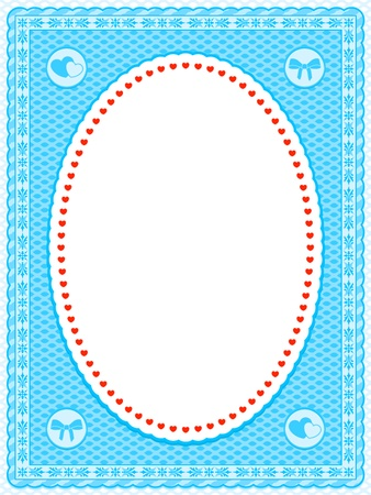 Blue frame with a delicate mesh design and an oval central cutout containing a border of tiny red hearts, interior blank white copyspace photo