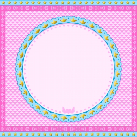 Pink and blue round Frame with stars and heart with wings photo