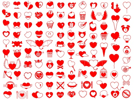 Huge collection of red silhouette vector heart icons covering love, romance, food, fun, violence, objects, broken hearts and design elements photo
