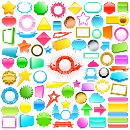 Enorme colección de coloridos adhesivos 3D y botones en diferentes formas, colores y tamaños para su uso en regalos, internet impresión, y comerciales con copyspace en blanco para el texto