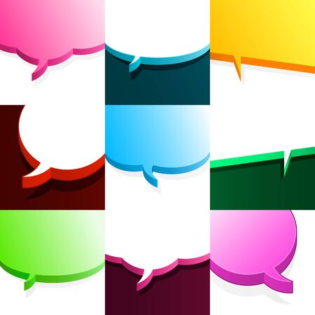 Set of nine different partial colourful empty 3d speech bubbles with copyspace for your text in square format photo