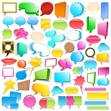 Huge blank 3d speech bubble collection with copyspace in different shapes, colours and sizes photo