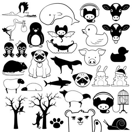 rabbit cage: Set di icone del fumetto degli animali in silhouette e contorni con uccelli, pesci, rettili, fauna, animali da fattoria e gli animali domestici rappresentati Archivio Fotografico