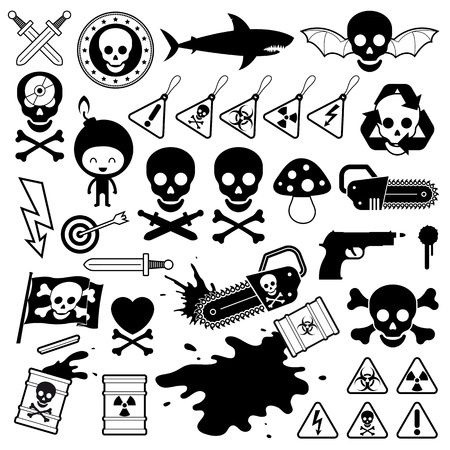 incendiary: Set of silhouette and outlined vector icons depicting danger from weapons, toxins, poison, shark, fungi, skull and crossbones and electricity