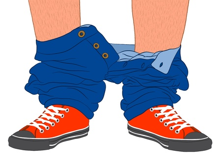 undressing: Illustration of a mans feet in red sneakers with his trousers bunched up around his ankles , conceptual of the idiom to be caught with your pants down, or to be caught unprepared Stock Photo