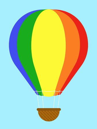 cartoon envelope: Coulourful hot-air balloon with striped panels in the colours of the rainbow floating high in a clear blue sky with an empty wicker basket gondola dangling below, isolated vector illustration