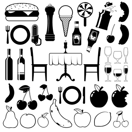 Collection of food icons with fast food, fruit, dining table, wine and beverages, vector illustrations illustration